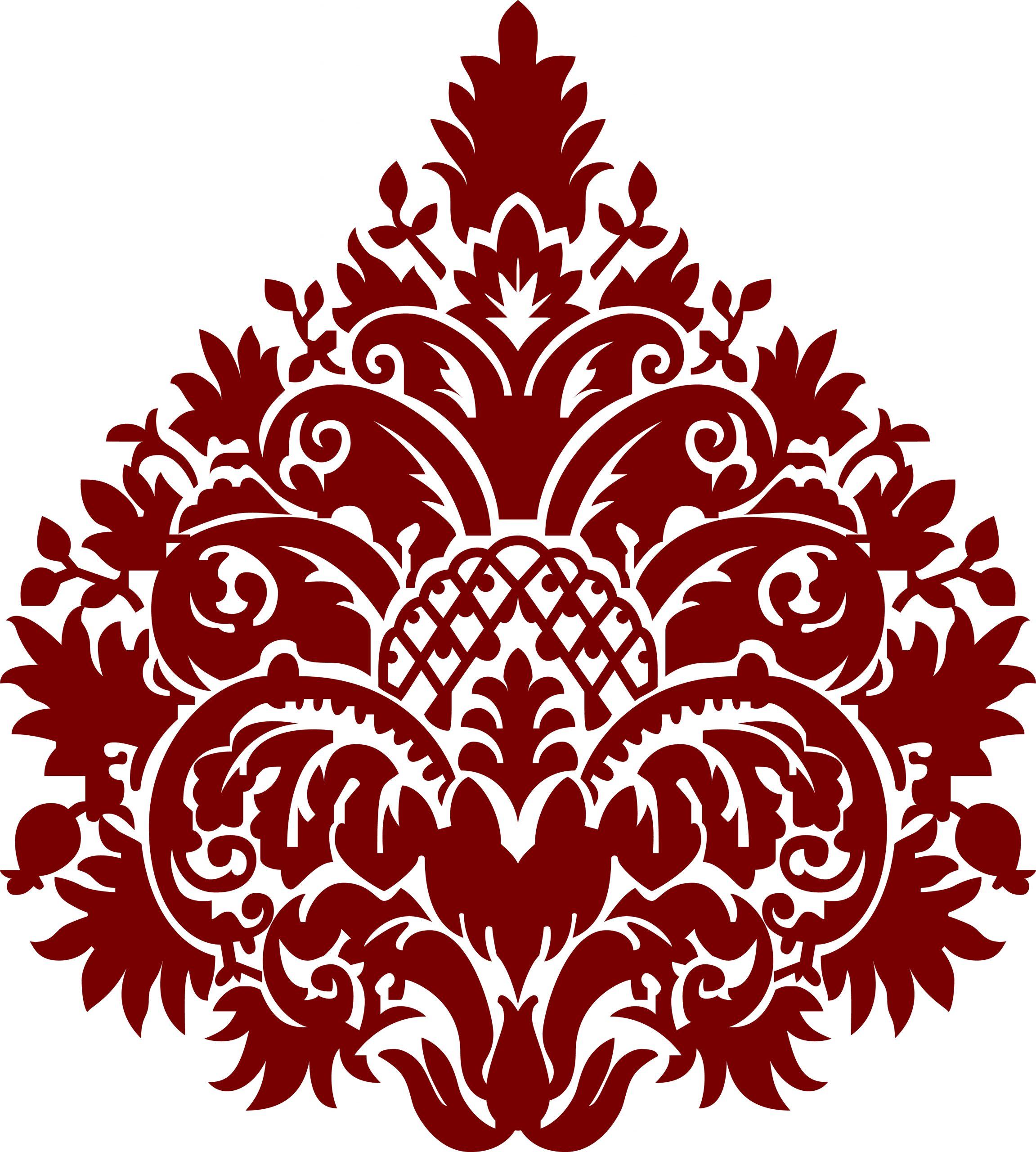 Flor de damasco burdeos